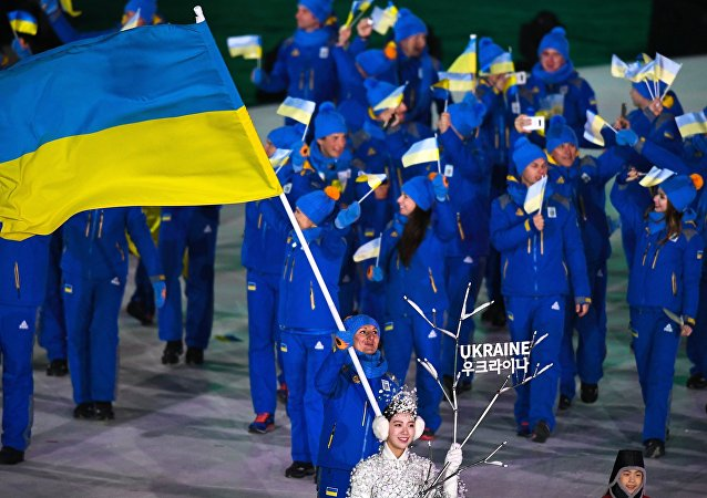 Atlestas ucranianos durante la ceremonia de apertura de los Juegos Olímpicos 2018