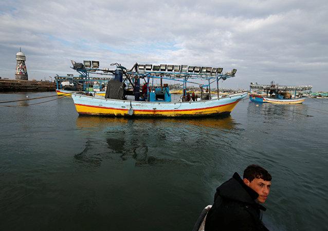 El barco pesquero donde asesinaron al palestino Ismail Abu Riyala