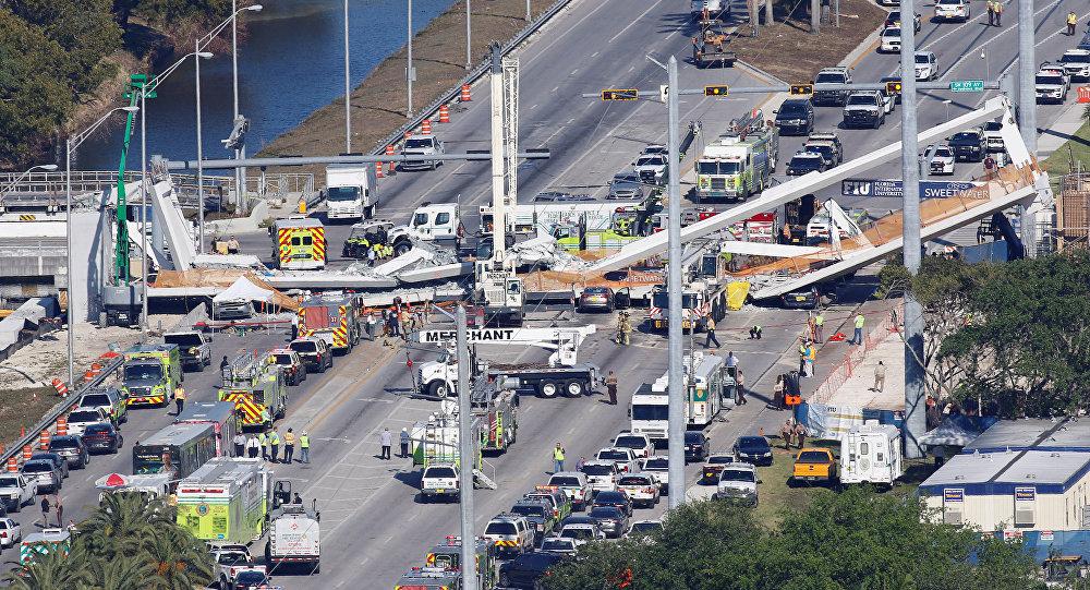 Un puente colapsado en Miami