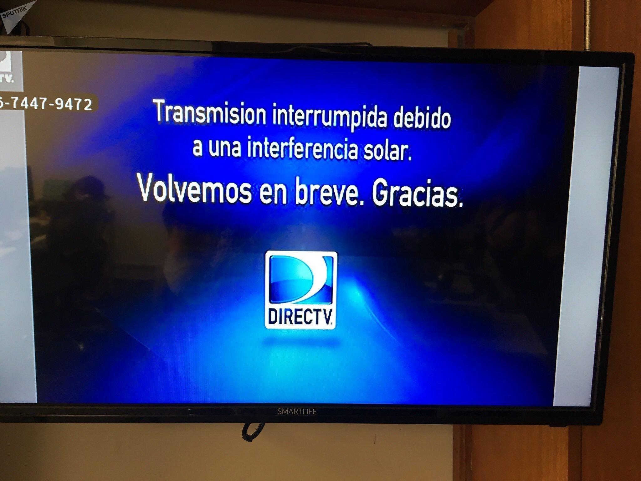 Efectos de la tormenta geomagnética en la televisión de la redacción de Sputnik en Montevideo, el 15 de marzo de 2018.