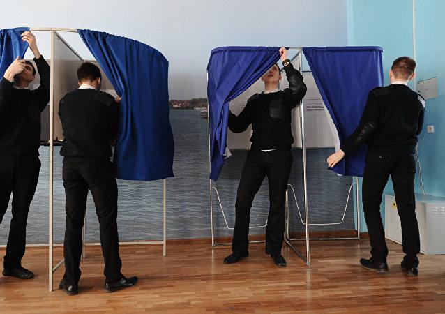Un colegio electoral en Rusia