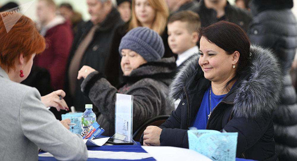 Un colegio electoral en Moscú