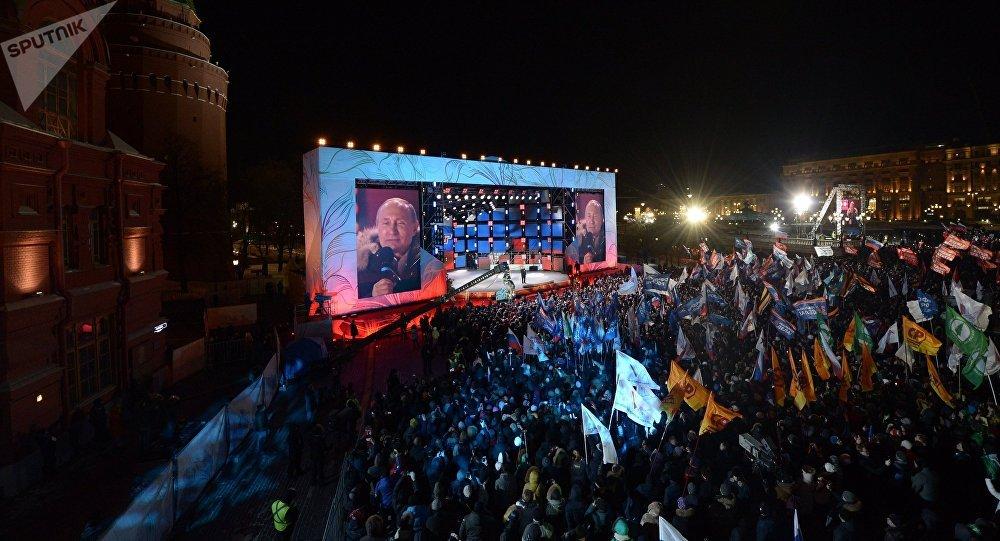 Vladímir Putin en el mitin concierto Rusia, Sebastopol, Crimea
