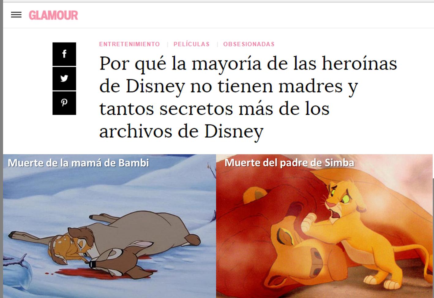 La muerte de los padres en los dibujos animados de Disney