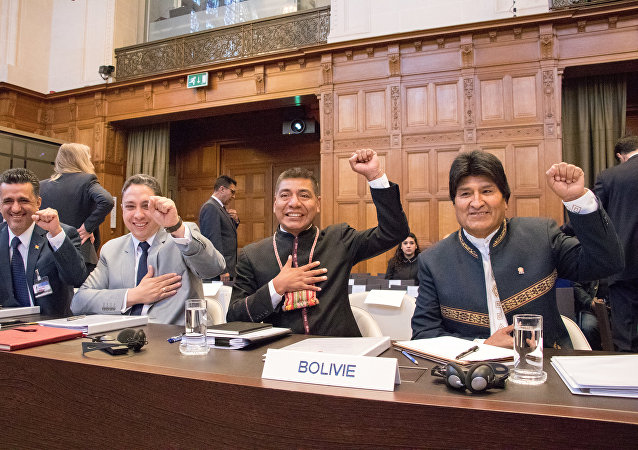 La delegación de Bolivia en la Corte Internacional de Justicia