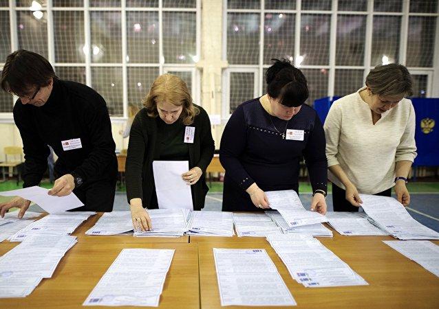 El recuento de votos en las elecciones presidenciales de Rusia