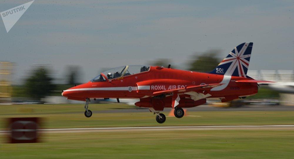 Un avión Hawk de la Real Fuerza Aérea del Reino Unido