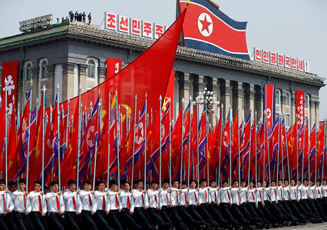 Las banderas de Corea del Norte
