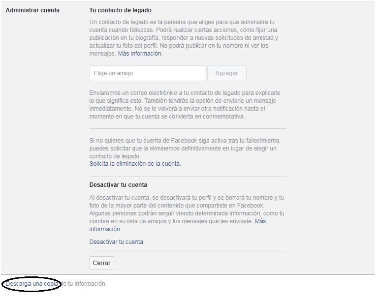Primer paso del tutorial para eliminar tu cuenta de Facebook