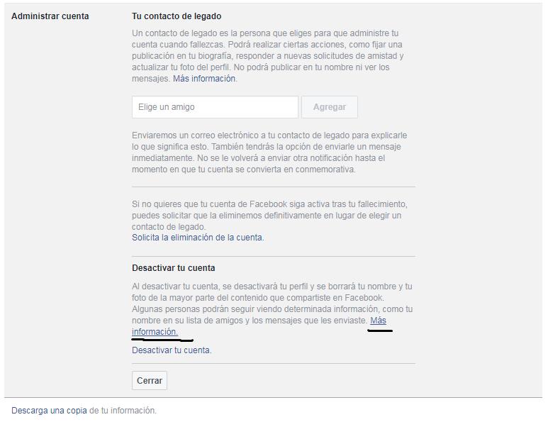 Segundo paso del tutorial para eliminar tu cuenta de Facebook