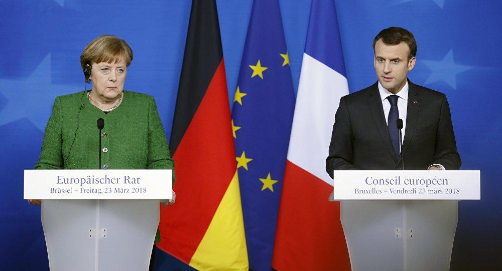 La canciller alemana, Angela Merkel, y el presidente de Francia, Emmanuel Macron