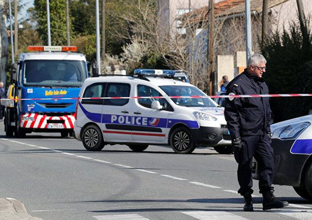 Operativo policial en el lugar del ataque en Carcasona, Francia