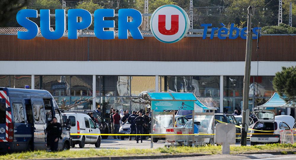 Lugar de atentado en la comuna francesa de Trèbes