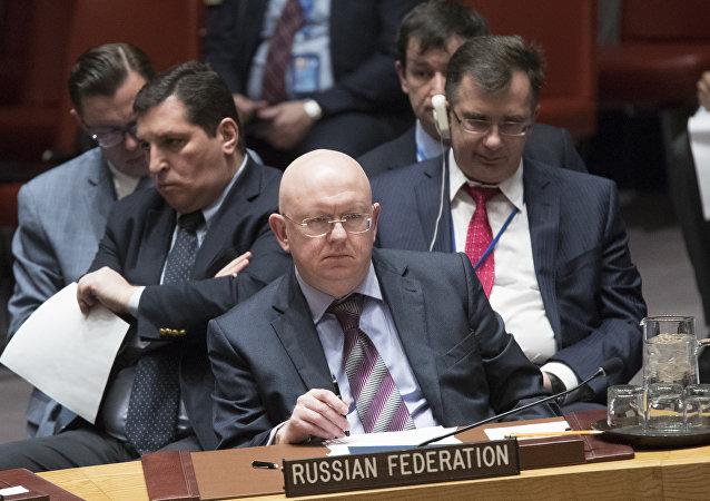 Vasili Nebenzia, el Representante Permanente de Rusia ante la ONU (archivo)