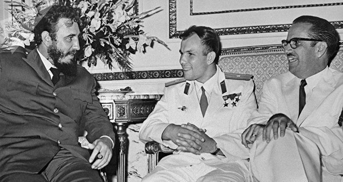 Reunión entre Fidel castro y Yuri Gagarin en La Habana