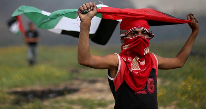 Un demonstrante palestino en Gaza (imagen referencial)