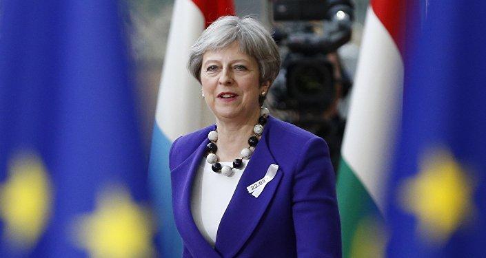 Theresa May, primera ministra de Reino Unido, durante el foro de los líderes de países miembros de la Unión Europea en Bruselas, Bélgica, 22 de maro de 2018