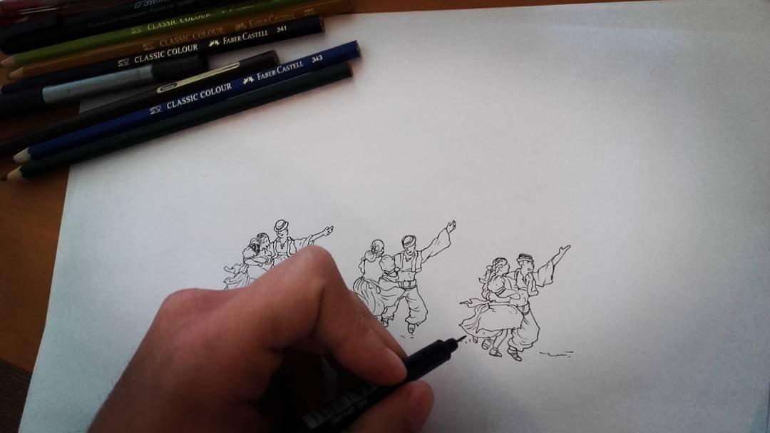 Tomás Castellani, dibujando