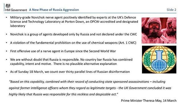 Diapositiva 2 de la presentación británica sobre el incidente de Salisbury