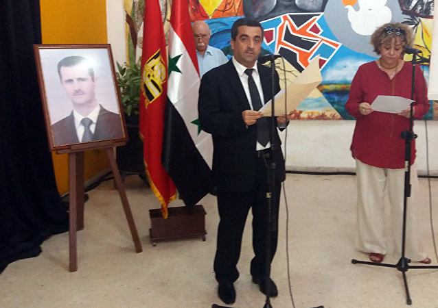 Embajador de Siria en Cuba, Idris Mayya, en acto de solidaridad efectuado en La Habana.