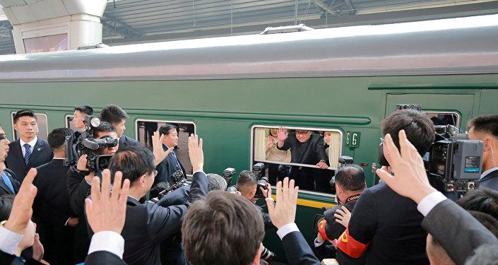 Kim Jong-un, líder norcoreano, en su tren