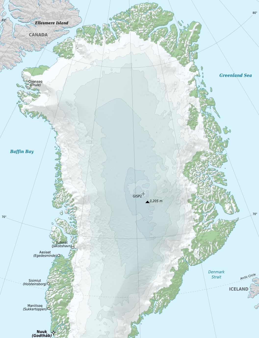 Mapa físico de Groenlandia en el que se observa el nivel de deshielo de la costa