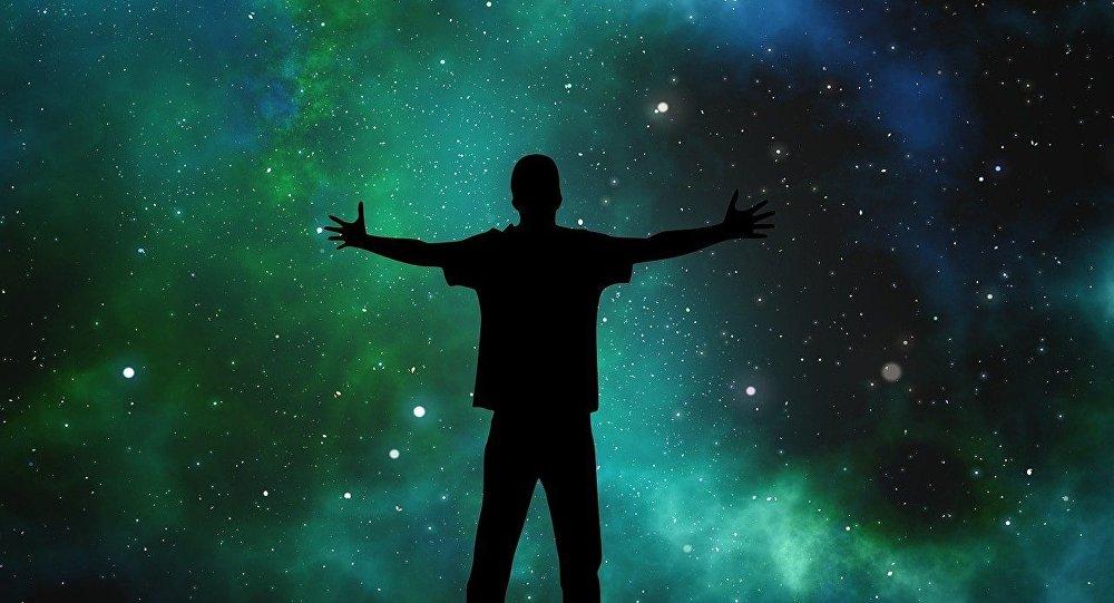 Un hombre mirando al universo (ilustración)