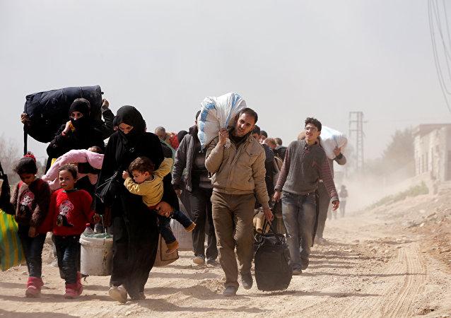 Civiles en Guta Oriental, Siria (archivo)
