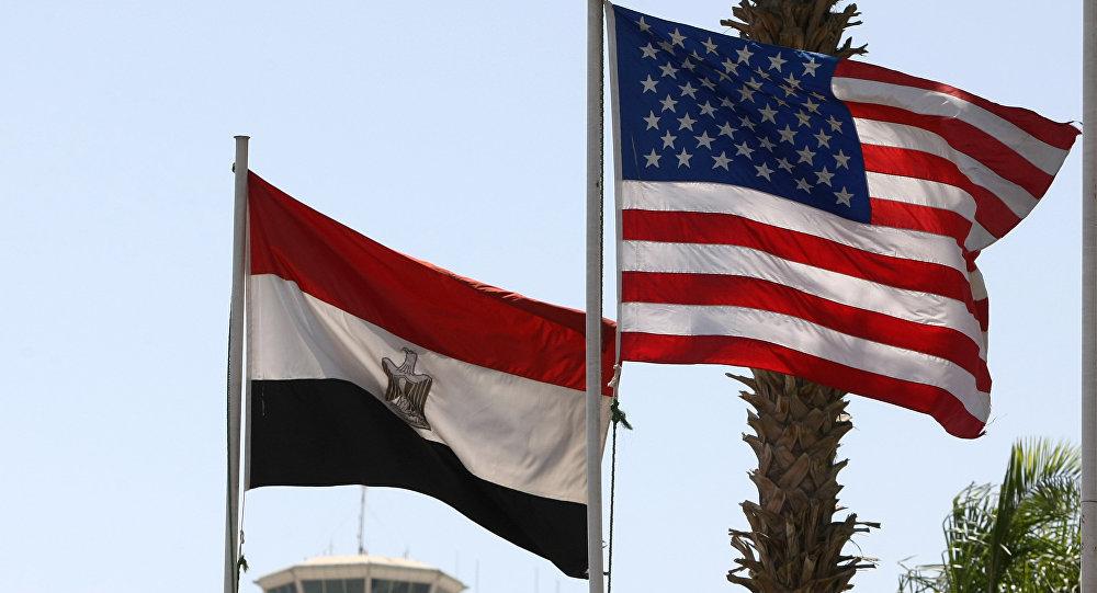 Banderas de EEUU y Egipto
