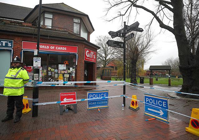 Policía británica en Salisbury, el Reino Unido