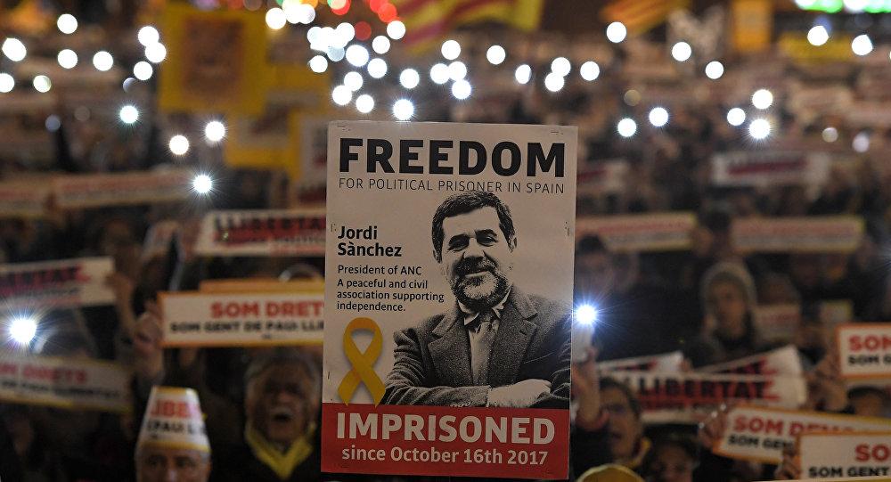 Un cartel con la cara de Jordi Sànchez