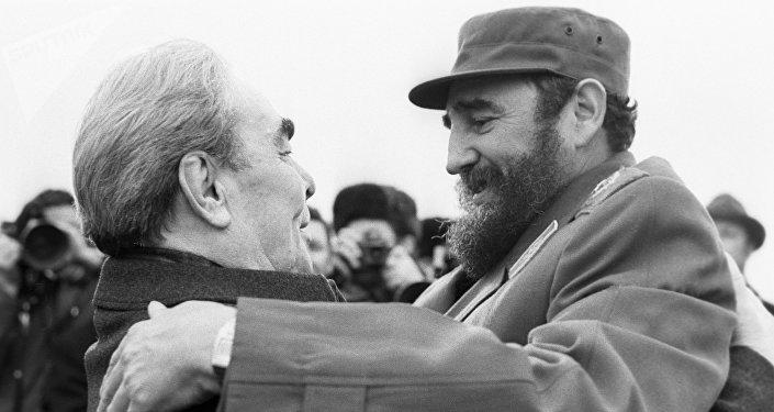 El retrato de  Leonid Brézhnev y Fidel Castro