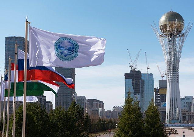 La bandera de la Organización de Cooperación de Shanghái (OCS) y las banderas de sus miembros (archivo)