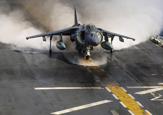 Un caza Harrier AV-8B de la Marina de EEUU