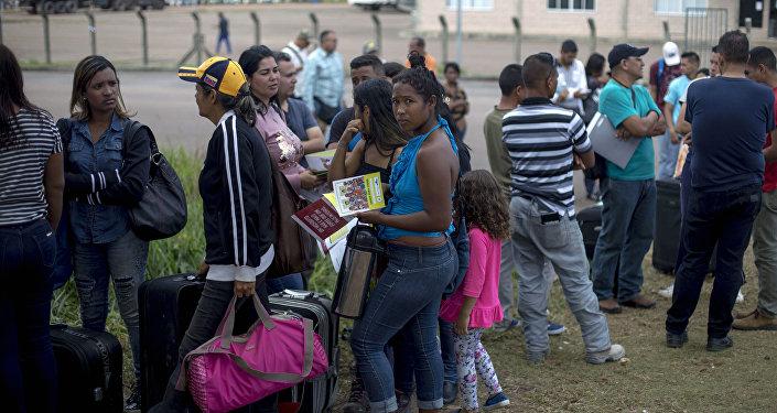 Venezolanos en la frontera con Brasil (archivo)
