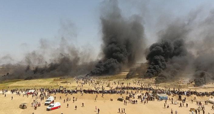 Las protestas en la Franja de Gaza, filmadas desde un dron