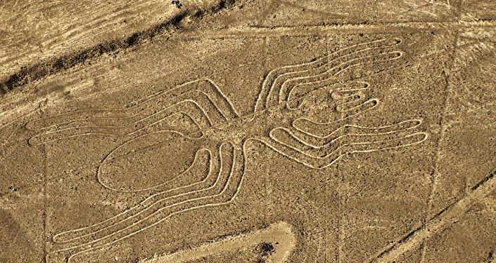 Vista aérea de uno de los geoglifos de Nazca