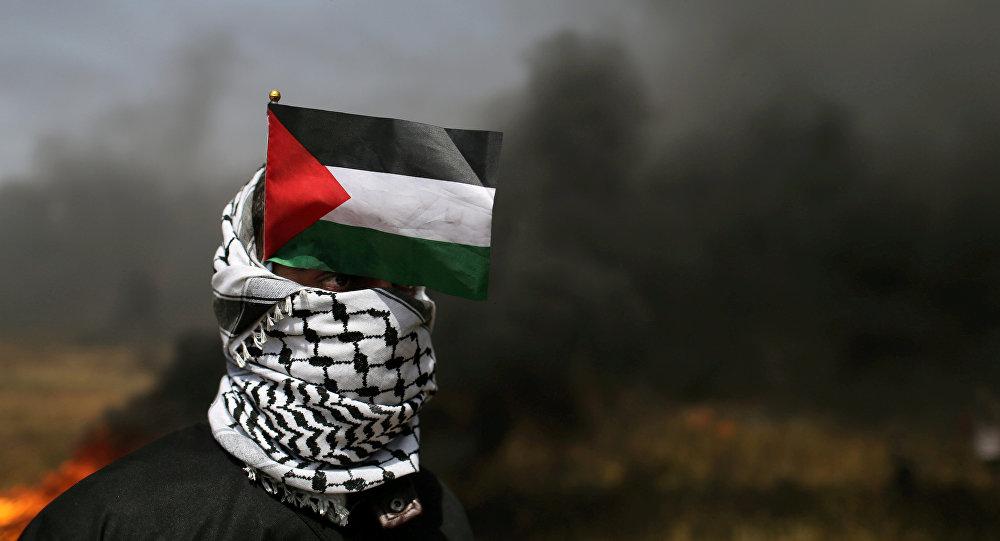 Un manifestante con la bandera de Palestina en la Franja de Gaza