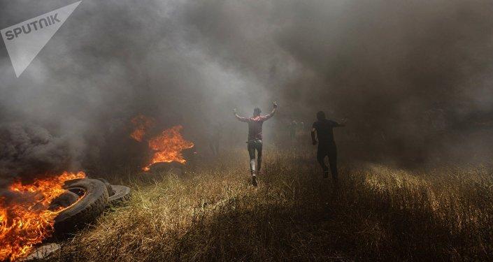 Protestas de los palestinos de Gaza en la frontera con Israel