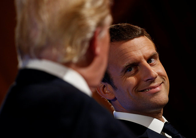 El presidente estadounidense, Donald Trump con su homólogo francés, Emmanuel Macron (archivo)