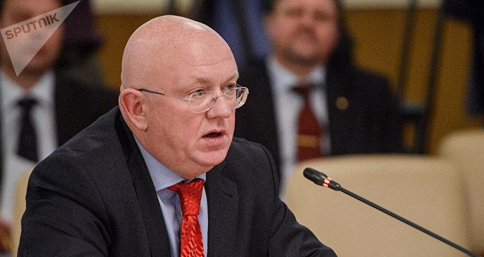 Vasili Nebenzia, el Representante Permanente de Rusia ante las Naciones Unidas (archivo)