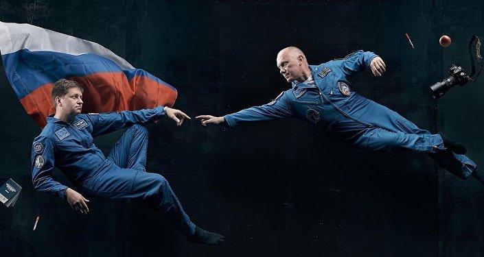 Los cosmonautas rusos Andréi Babkin y Oleg Artémev (imagen referencial)