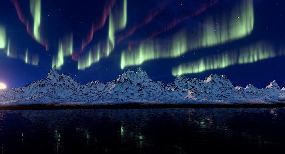 Aurora boreal, foto de archivo