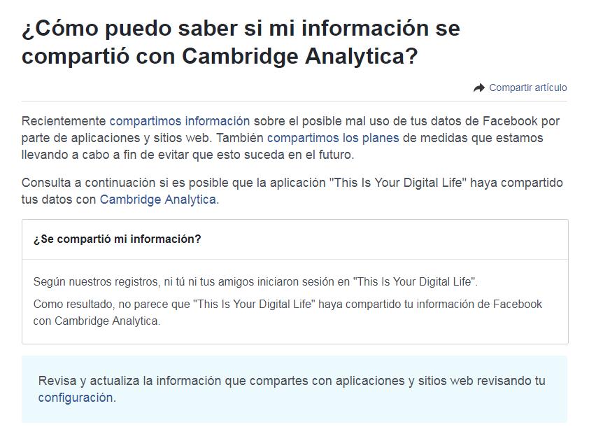 El mensaje que aparece en Facebook cuando no estás afectado por el escándalo Cambridge Analytica