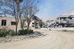 Las ruinas de un edificio en el municipio de Barzeh