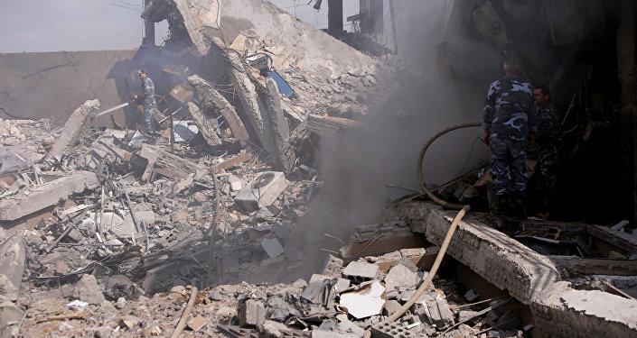 Centro de investigación destruido por el reciente ataque de EEUU y sus aliados