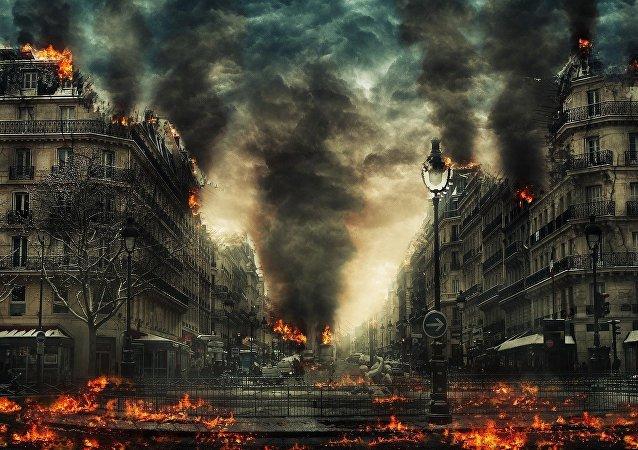 Una ciudad en llamas (ilustración)
