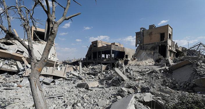 El destruido Centro de los Estudios Cientificos sirio en Damasco