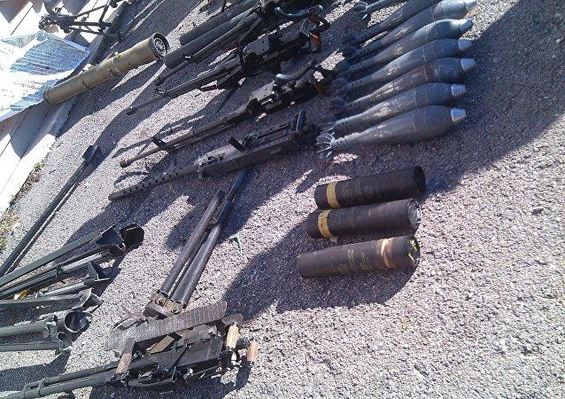 Municiones de terroristas en la ciudad siria de Duma