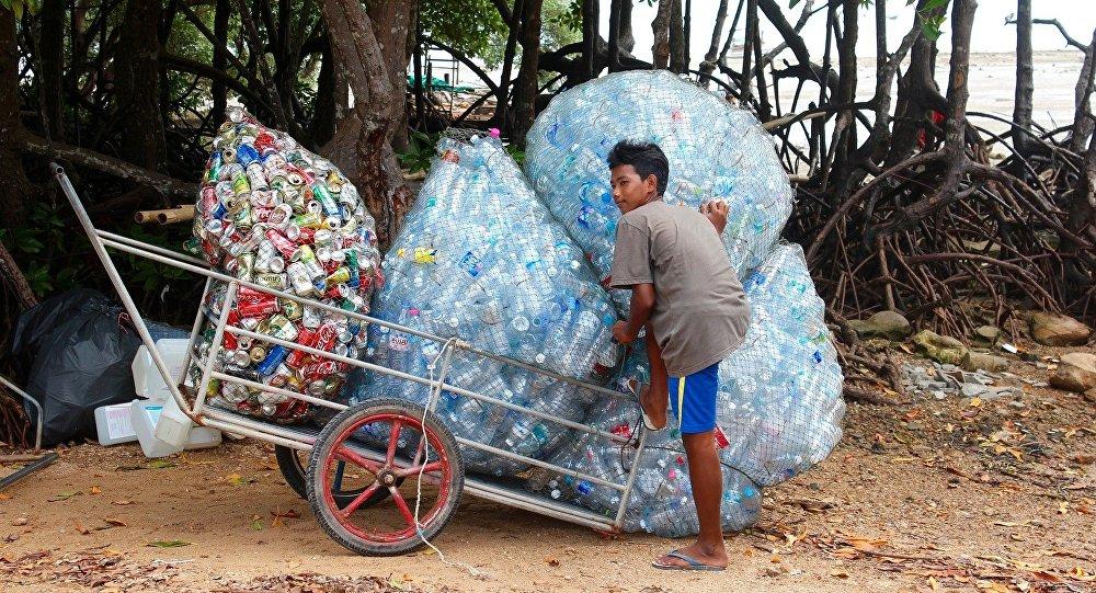 Un reciclador de plástico